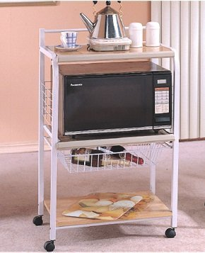 Portable Metal Microwave Serving Cart, White by ADF