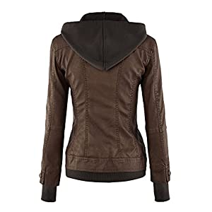 MBJ WJC664 Womens Faux Leather Jacket with Hoodie M COFFEE