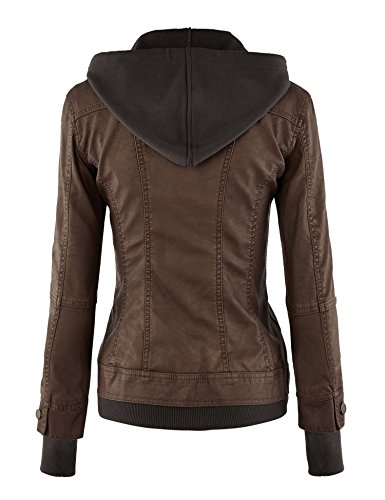 LL Womens Hooded Faux leather Jacket - stylishcombatboots.com