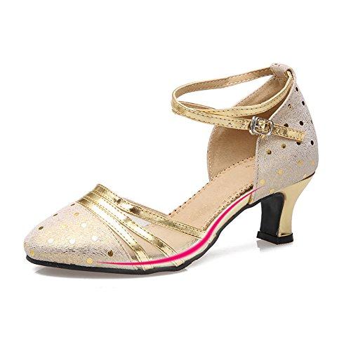 WYMNAME Mujeres Zapatos De Baile Latino,Tacones Mediados Fondo Blando Zapatos De Baile Social Modernos Zapatos De Baile Dorado