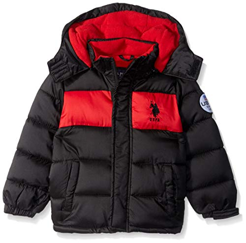 Signature Quilt Zip Apparel - US Polo Association Boys' Toddler' Sporty Bubble Jacket, Black/Red, 2T