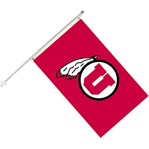 A Utah Utes Collegiate Helmet Flag Kit, Black, Size 3 x 5 ()