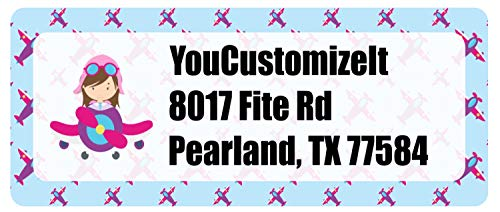 Airplane Theme - for Girls Return Address Label (Personalized)