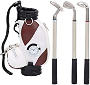 Desktop Golf Pen Set, Mini Desktop Golf Pen Holder Golf Club Pen Set with 3 Golf Ballpoint Pens Desk Decoratio
