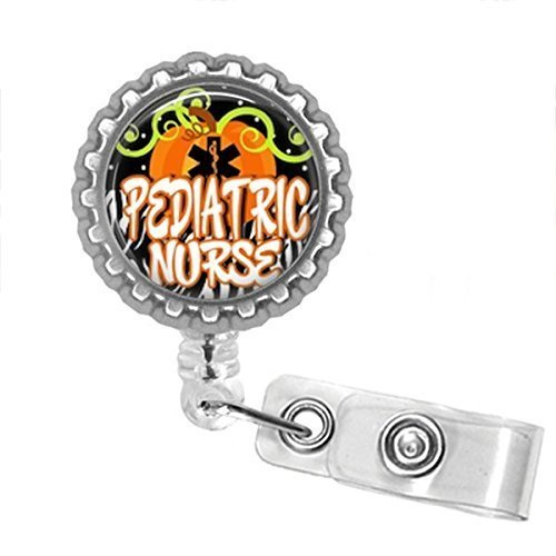 Pediatric Nurse Halloween Bottle Cap Retractable Badge ID Holder - Pediatric Bottle
