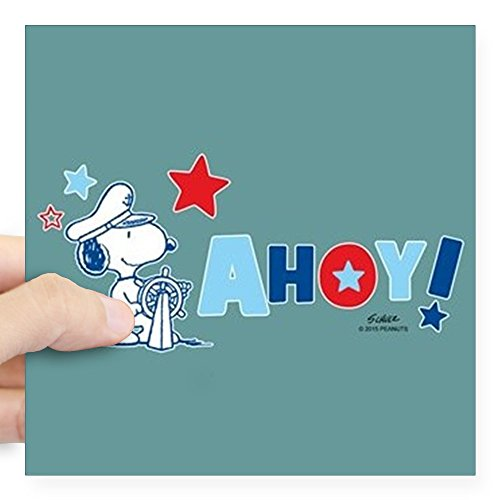 Full Bleed Photo - CafePress - Snoopy AHOY Full Bleed Sticker - Square Bumper Sticker Car Decal, 3