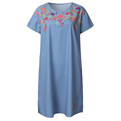 (WILLBE Summer Embroidered Round Dress Collar Women's Fashion Short-Sleeved Dress Bohemian Floral Shift Flowy Mini Dress Blue)