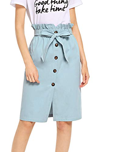 - WDIRARA Women's High Ruffle Waist Belted Knee Length Button Up Skirt Blue L