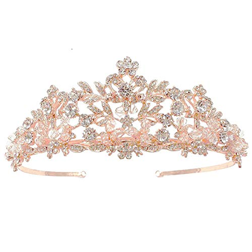 SNOWH Gorgeous Tiaras and Crowns for Women, Rose Gold Wedding Tiara for Bride Birthday Princess Crown Bridal Headpieces Costume Party Hair Accessories