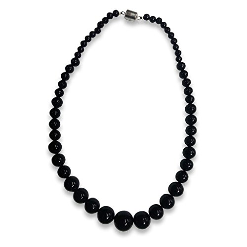 Sterling Silver Black Agate Graduated Bead Necklace 20-inches