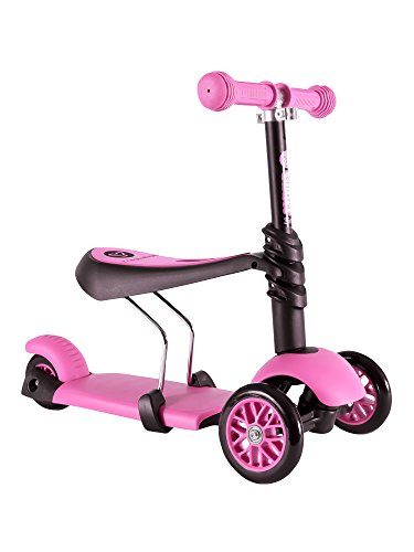 Yvolution Y Glider 3in1 | 3 Wheels Mini Kick Scooter with Removable Seat Great Present for Kids and Toddlers Pink