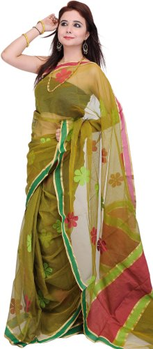 (Exotic India Cress-Green Sari with Woven Flowers with Plain Border - Cress Green)