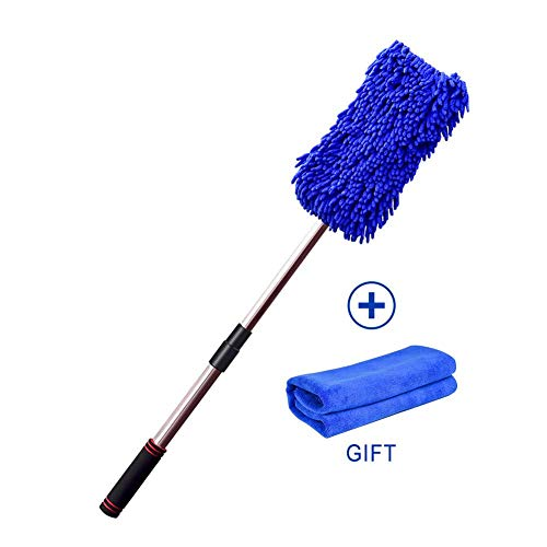 Per 2 In 1 Long Chenille Microfiber Wash Mop 360 Degree Wet Mop Telescopic Multi Function Chenille Brush Car Cleaning Tool Supplies Car Wash Brush