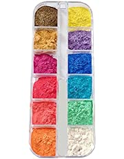 12 Grids Cosmetic Mica Powder Pearlescent Lip Gloss Pigment Powder Mineral Powder Epoxy Resin Dye Pearl Pigment for DIY Jewelry Crafts Making