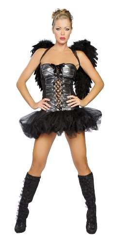 [Roma Costume 1 Piece Naughty Dark Angel Costume, Black, Medium/Large] (Dark Angel Costumes Women)