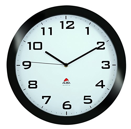 Alba 15-Inch Silent Wall Clock, Black Frame (HORISSIMO N)