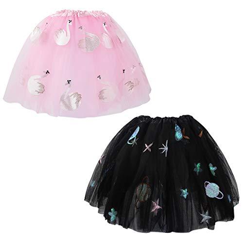 kilofly 2 pcs Girls Space Swan Ballet Tutu Princess Party Dance Tulle Skirts -