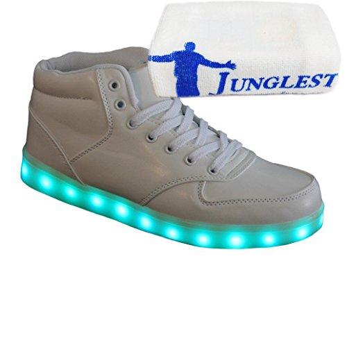 [Present:kleines Handtuch]JUNGLEST® 7 Farbe Lackleder High Top USB Aufladen LED Leuchtend Sport Schuhe Sportschuhe Sneaker Turnschuhe für Unisex-Erwachsene H High Top Weiß
