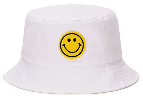 ChezAbbey Unisex Wide Brim Smile Face Pattern Sun Protection Funky Outdoor Fishing Bucket Hat (Funky Cotton Hats)