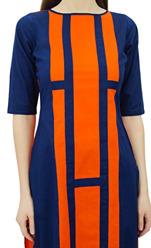 Casual Kurta Asymtrique Coton Bleu Indien Hem Womens Orange Designer Tunique Kurti Phagun Marine Porter et q84wUxRg