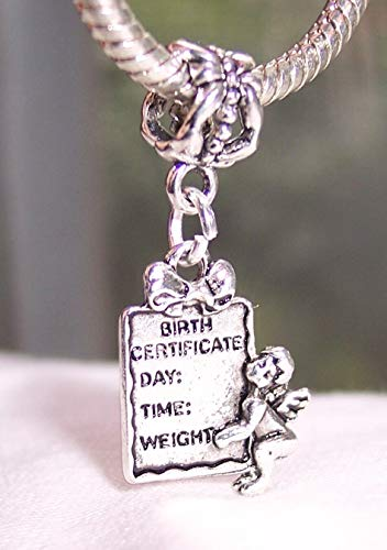 New Cherub - Birth Certificate Cherub New Baby Shower Gift Dangle Charm for European Bracelet