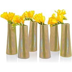 Chive - Galaxy, Small Cylinder Ceramic Bud Flower Vase, Unique Single Flower Decorative Floral Vase for Home Decor, Bulk Set of 6 (Sage)