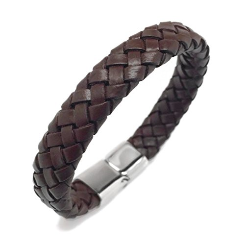 Wide Braided Brown Leather Bracelet Mens Womens Stainless Steel Magnetic Clasp (9.0 Inch) (Mens Braided Bracelet Brown)