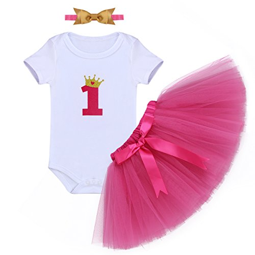 Baby Girl It's My 1st Birthday 3Pcs Outfits Skirt Set Romper+Tutu Dress+Headband Cake Smash Crown Bodysuit Clothes Jumpsuit #2 Fuchsia One Size from IBTOM CASTLE