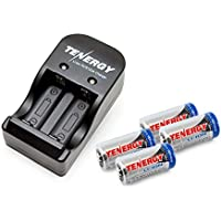 Kits: 4 Tenergy RCR123A 3.0V 600mAh Rechargeable Li-Ion Protected Batteries with a Smart Charger