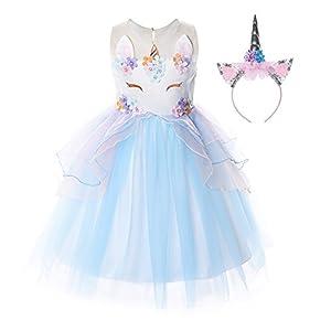 JerrisApparel Flower Girls Unicorn Costume Pageant Princess Party Dress