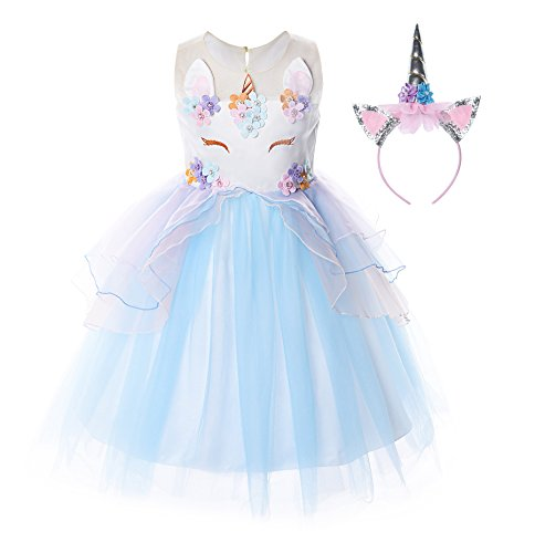 JerrisApparel Flower Girls Unicorn Costume Pageant Princess Party Dress (8-9 Years, Blue) -