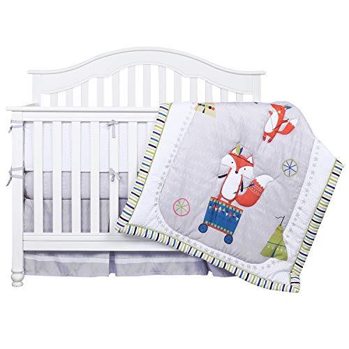 TILLYOU Luxury 8 Pieces Woodland Crib Bedding Set (Crib Bumpers, Quilt, Crib Sheets, Crib Skirt) – Fox Microfiber Nursery Bedding Set for Boys Girls, Pale Gray