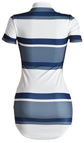Cromoncent High Striped Short Neck Blue Dresses Bodycon Womens' Slim Sleeve Tq6w4Tr