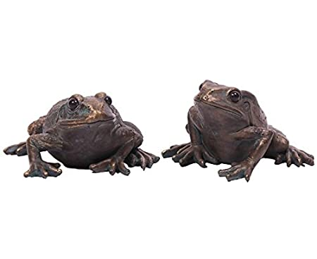 Pair Of Garden Frogs Ornaments Bronze Finish