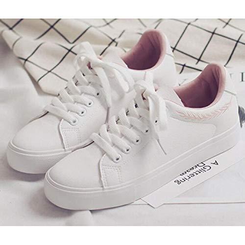 Autunno da Blu piatto ginnastica da Pink ZHZNVX Bianco Comfort Bianco in White Tacco donna microfibra Rosa Scarpe Primavera Scarpe 7vwaaYW5X
