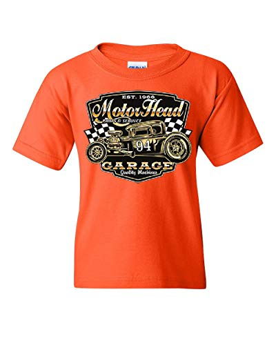 (Motorhead Garage Youth T-Shirt Route 66 Hot Rod American Classic Retro Kids Tee Orange S)