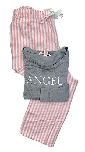 Victoria's Secret Women's Lounge PJ Pajama Flannel Sleepwear Set Angel/Pink White Stripes Large