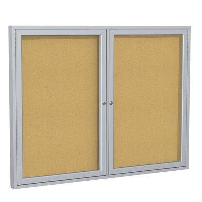 2-Door Enclosed Natural Cork Tackboard Frame: Satin Aluminum, Size: 36