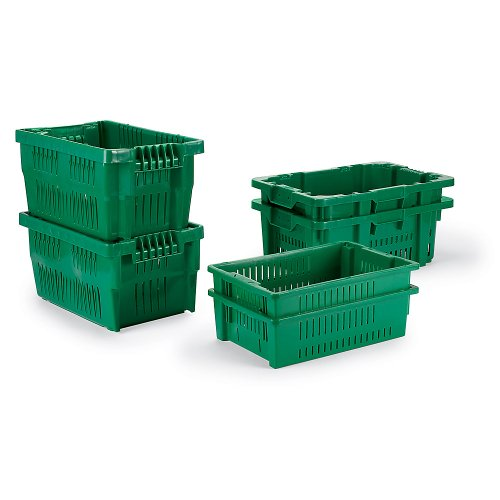 LEWISBINS Ventilated Stack and Nest Containers - Green - Lot of 5