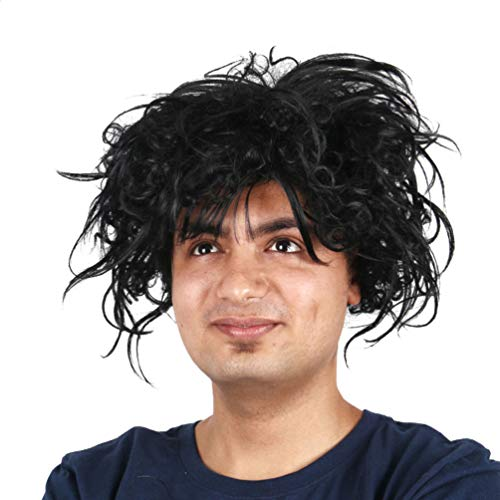 Edward Scissorhands Wig, Short Curly Wavy Hair Wig for Men Black Fluffy Costume Party Halloween Cosplay Synthetic Wigs Deluxe Grand Heritage Daily Use Fancy Dress Adult Wig Accessory -