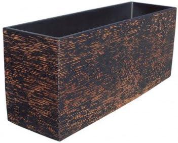 AnaParra Cubic Jardinera Exterior Rectangular Fabricado en hormigón aligerado   Macetero Decorativo de Piedra Artificial Exterior e Interior Medidas 90x27x37cm, Color Óxido