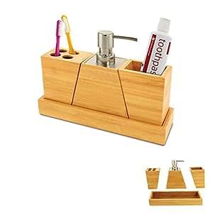 marvellous bamboo bathroom accessories | Amazon.com: Bamboo 4 Piece Vanity Set Bathroom Accessory ...