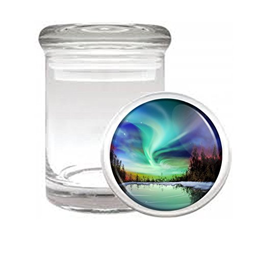 Medical Glass Stash Jar Alaska Scenic Sights S10 Air Tight Lid 3'' x 2'' Small Storage Herbs & Spices by JS & Caren