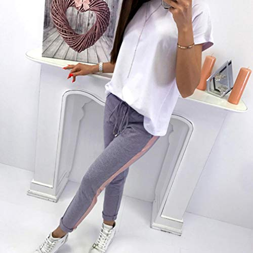 Grigio Leggins Fitness Casual Sportswear Pantaloni Ragazze Vita Pantacollant Strisce Lunghi Alta Neri A Donna Elastico Leggings wftdx5tq