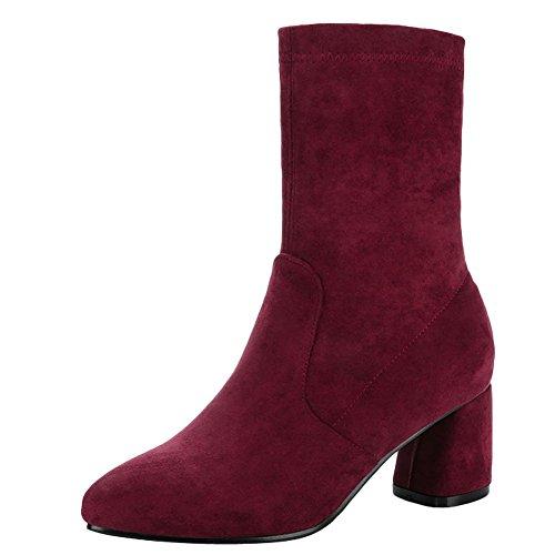 Mee Shoes Women's Charm Mid Heel Block Heel Mid Calf Boots Red