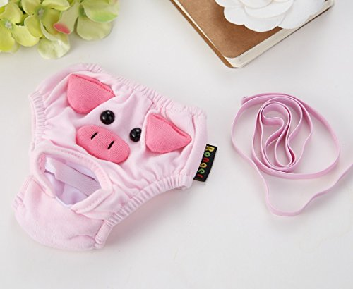 Stock Show 2Pc Cute Pig Pattern Cotton Pet Female Dog Diapers Sanitary Physiological Pants, Washable Reusable Small Medium Girl Puppy/Doggie Panties Underwear -