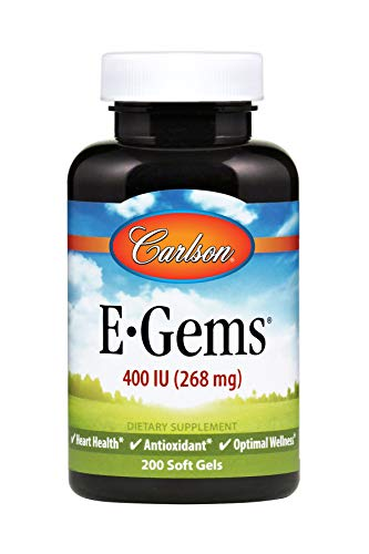 Carlson E-Gems 400 IU, Vitamin E, Heart Health, 200 Soft Gels