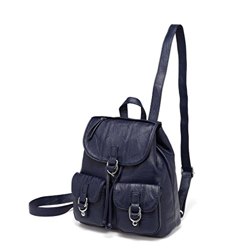 Mini Backpack Purse for Women,VASCHY Fashion Faux Leather Buckle FlapDrawstring Backpack for College with Two Front Pockets Navy