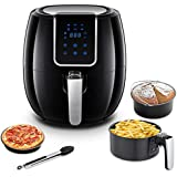 AAOBOSI Air Fryer, Digital Air Fryer, 3.7 Qt, 1500 Watts, Big LED Display with Sensor Touch Control, Extra Free Accessories, Washable Basket and Pan