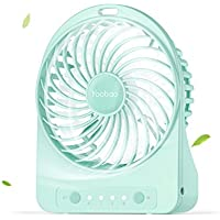 Yoobao F01 Mini Portable USB Fan Table Desktop Personal Fan 3300mAh Rechargeable Battery Powered Fan for Home and Office Cooling, Traveling Camping Handheld Fan with Flashlight (3 Speeds) - Mint Green